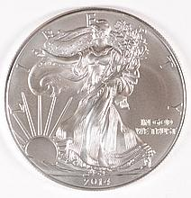 2014 AMERICAN SILVER EAGLE, GEM BU, THE LATEST ISSUE OF THIS  COLLECTABLE COIN