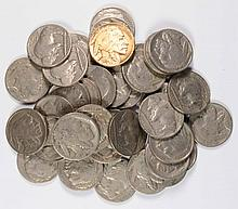 ONE ROLL ( 40 ) COINS 1934 BUFFALO NICKELS, NICE FULL DATES