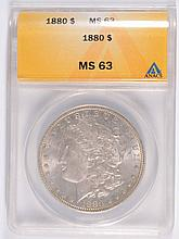 1880 MORGAN SILVER DOLLAR, ANACS MS-63