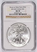 2013 ( W ) AMERICAN SILVER EAGLE, NGC MS-70!   BROWN LABEL