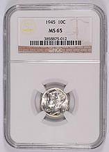 1945 MERCURY DIME, NGC MS-65   WHITE