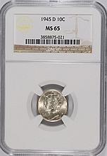 1945-D MERCURY DIME, NGC MS-65