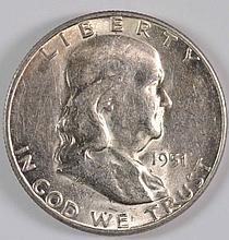 1951-S FRANKLIN HALF DOLLAR, BU