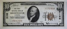 1929 $10 NATIONAL CURRENCY TYPE 1 1ST NATL BANK OF BIRMINGHAM CH.XF