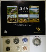 BAG LOT; 2016 AM. BEAUTIFUL 25c SET, 1987 CONSTITUTION $1, 1959 PROOF SET
