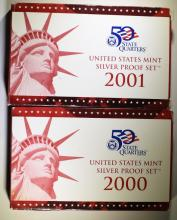 2000 & 2001 U.S. SILVER PROOF SETS IN  ORIGINAL PACKAGING