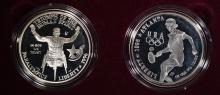 1996 WHEELCHAIR & TENNIS 2coin PROOF SILVER DOLLAR SET - ORG BOX / NO COA