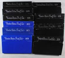 U.S .PROOF SETS OF THE 70'S 1970-79 10-COMPLETE SETS IN NICE ORIG PACKAGING
