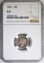 1921 MERCURY DIME, NGC GOOD-6