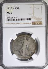 1916-S WALKING LIBERTY HALF NGC AG-3