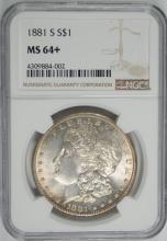 1881-S MORGAN SILVER DOLLAR, NGC MS-64+
