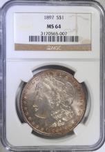 1897 MORGAN SILVER DOLLAR - NGC MS64 COLOR !