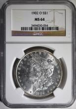 1902-O MORGAN SILVER DOLLAR, NGC MS-64