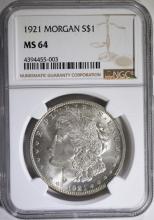 1921 MORGAN SILVER DOLLAR, NGC MS-64