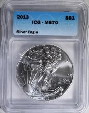 2013 AMERICAN SILVER EAGLE, ICG MS-70