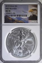 2015 AMERICAN SILVER EAGLE NGC MS-70 EARLY RELEASES