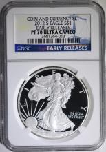 2012-S AMERICAN SILVER EAGLE NGC PF-70 ULTRA CAMEO E.R  FROM COIN & CURRENCY SET