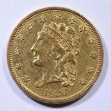 1836 CLASSIC HEAD $2.5 GOLD LIBERTY AU