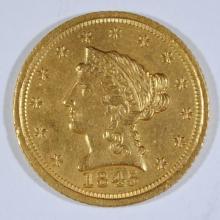 1845-D $2.5 GOLD LIBERTY BU CLEANED, RIM BUMP OBV. RARE DATE