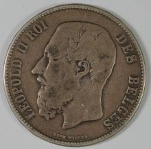 1870 Belgium, 5 Francs, 90% Silver, .7234 ozt KM#24