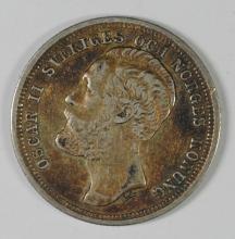 1883 Sweden Krona VF, 80% Silver, .1929 ozt