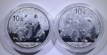 2 - .999 SILVER PROOF PANDAS - 2010 & 2012 in CAPSULES