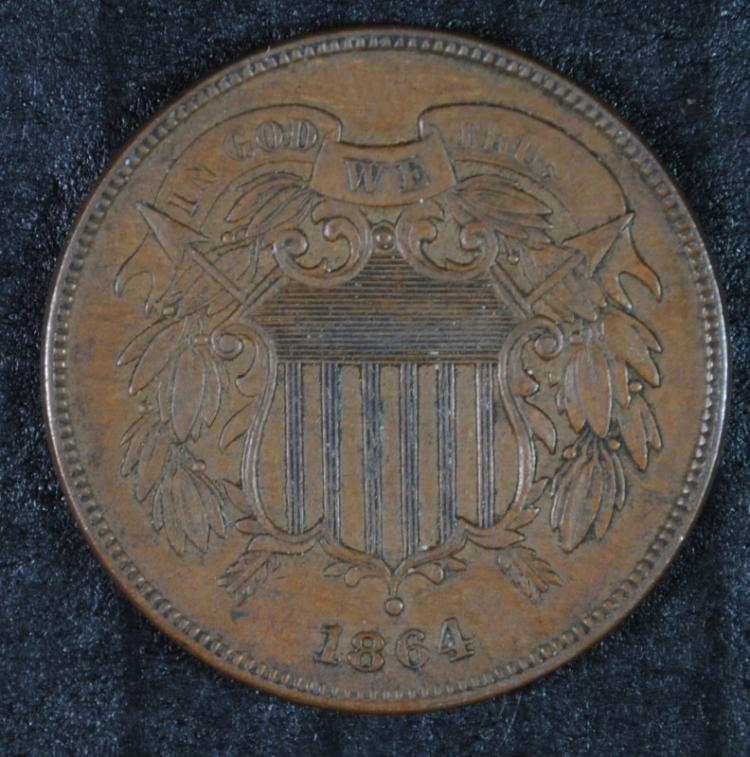 1864 TWO CENT PIECE LG MOTTO AU/UNC BROWN + NICE