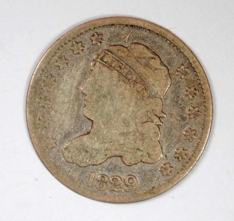 1829 CAPPED BUST HALF DIME, VG+