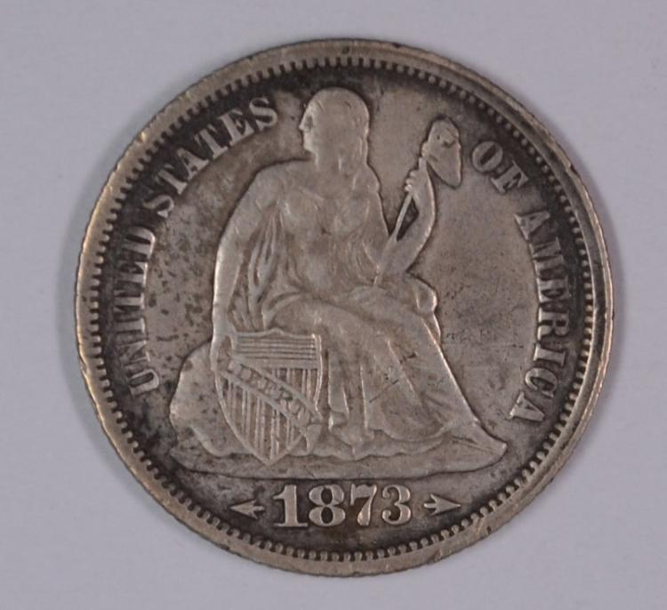 1873 ARROWS SEATED LIBERTY DIME XF