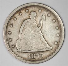 1875-S TWENTY CENT PIECE, NICE XF
