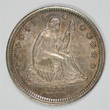 1861 SEATED LIBERTY QUARTER BU