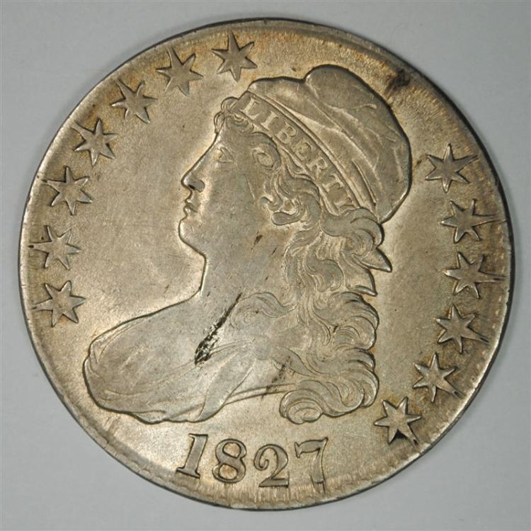 1827 BUST HALF DOLLAR, AU+/BU TONS OF LUSTRE