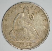 1858-O SEATED LIBERTY HALF CHOICE AU SCRATCH REV.