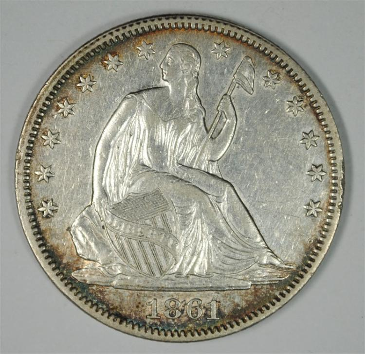 1861 SEATED LIBERTY HALF DOLLAR AU+