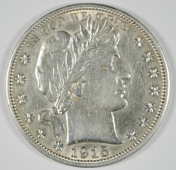 1915-S BARBER HALF DOLLAR, AU