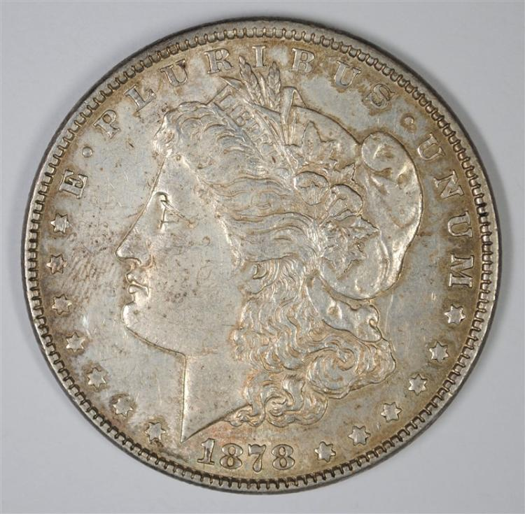 1878 7TF MORGAN SILVER DOLLAR, AU/BU