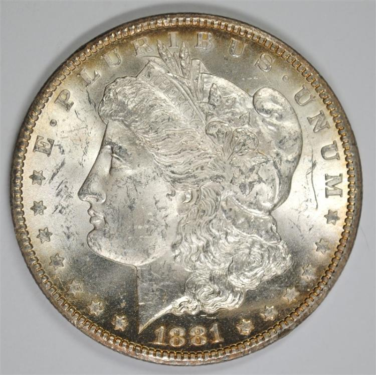 1881-CC MORGAN SILVER DOLLAR, CHOICE BU+  KEY DATE!