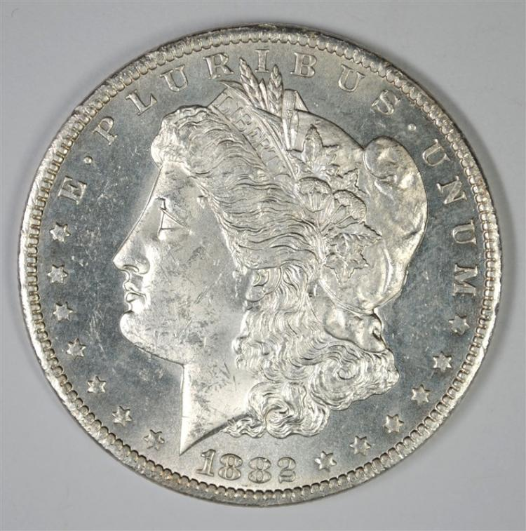 1882-CC MORGAN SILVER DOLLAR, CHOICE BU PL