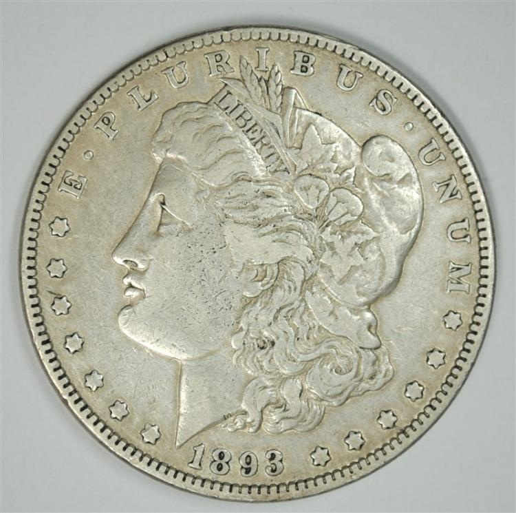 1893 MORGAN SILVER DOLLAR, XF+  KEY DATE