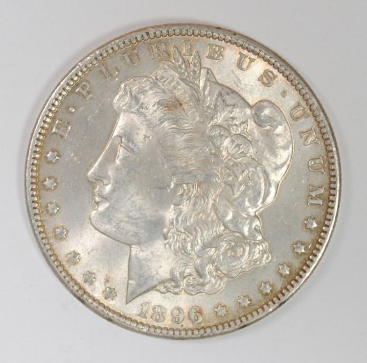 1896 MORGAN SILVER DOLLAR - CHOICE BU+