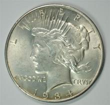 1934-D PEACE SILVER DOLLAR, BU