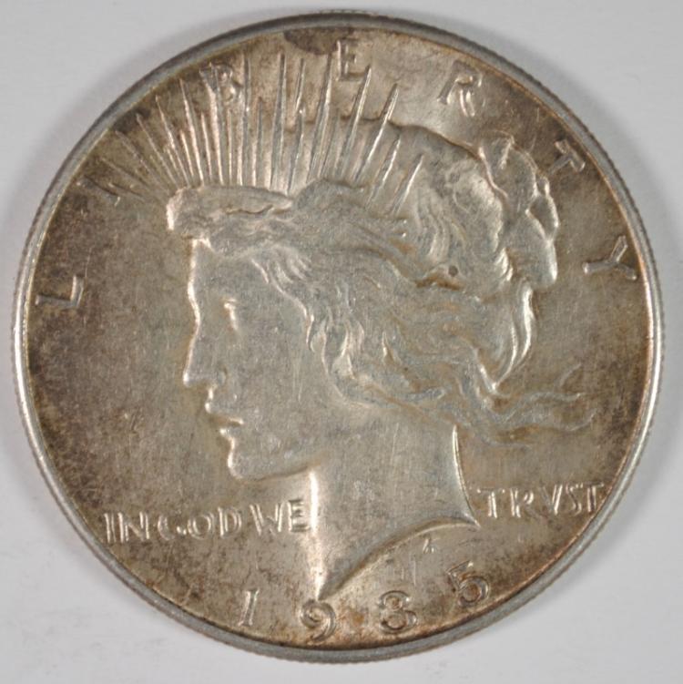 1935 PEACE SILVER DOLLAR, AU/UNC