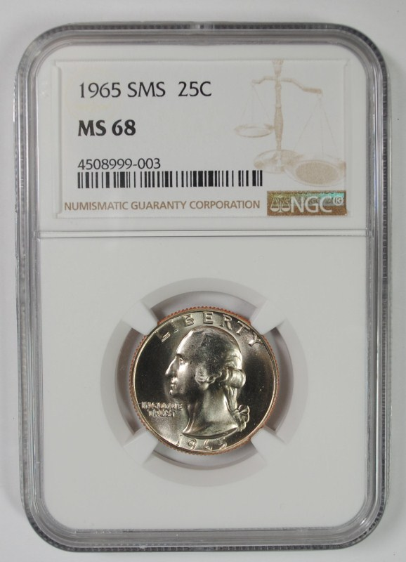 1965 SMS WASHINGTON QUARTER, NGC MS-68!