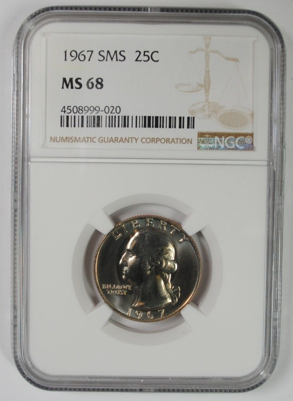 1967 SMS WASHINGTON QUARTER, NGC MS-68
