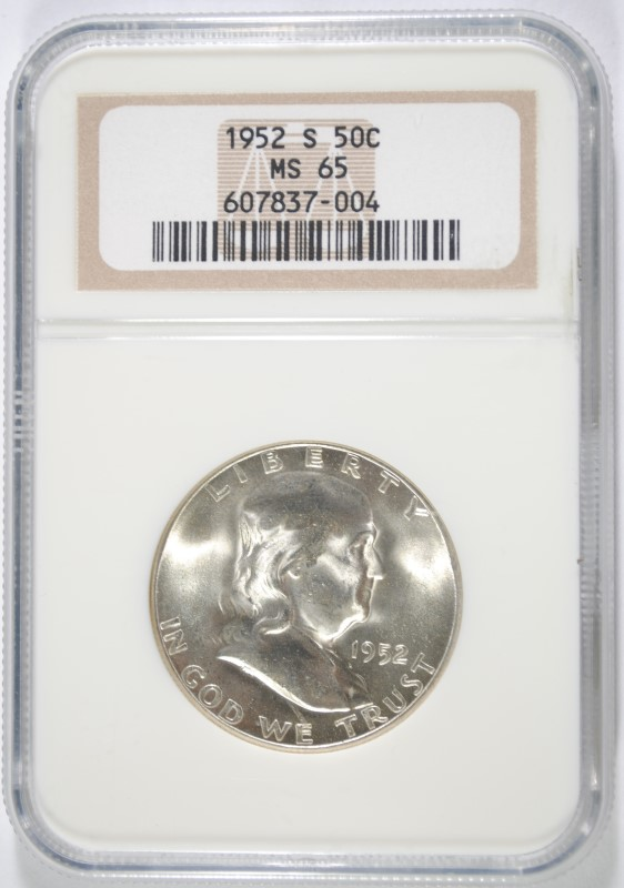 1952-S FRANKLIN HALF DOLLAR, NGC MS-65