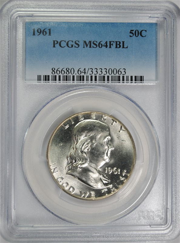 1961 FRANKLIN HALF DOLLAR, PCGS MS-64 FBL