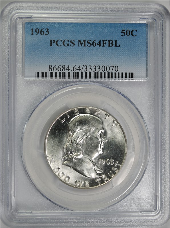 1963 FRANKLIN HALF DOLLAR, PCGS MS-64 FBL