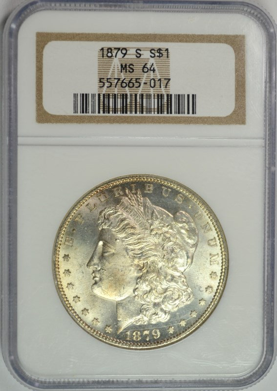 1879-S MORGAN SILVER DOLLAR, NGC MS-64 NICE!