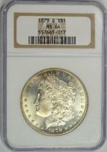1879-S MORGAN SILVER DOLLAR, NGC MS-64 NICE!