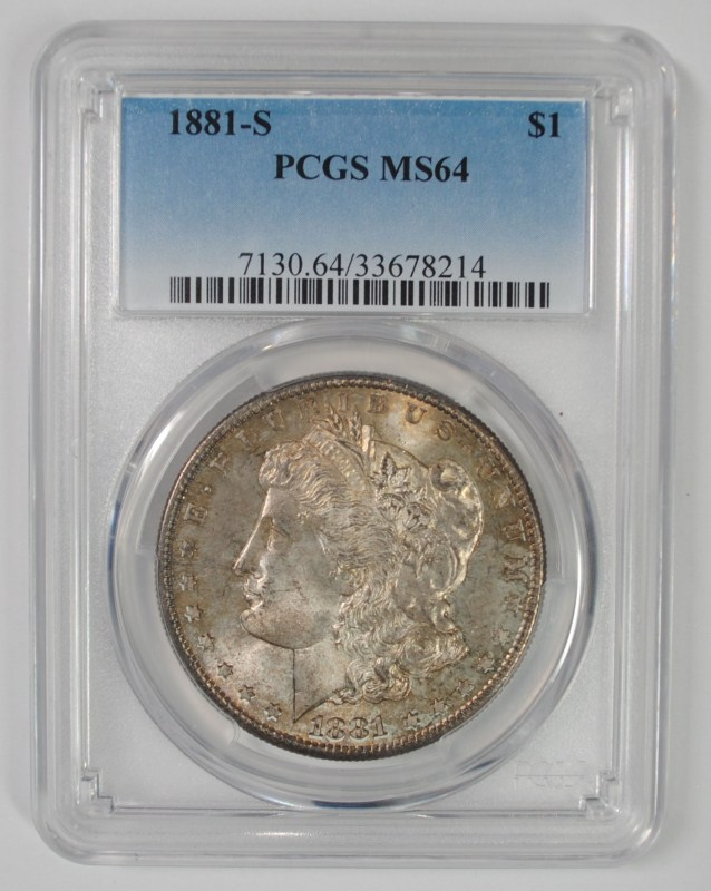 1881-S MORGAN SILVER DOLLAR, PCGS MS-64 GREAT TONING